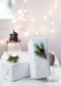 simple white gift wrapping with twigs