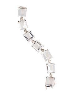 $225.00  Sterling silver Stephen Dweck faceted quartz link bracelet with slide-lock closure featuring figure eight safety.