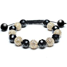 Bling Jewelry Black Onyx Bead Bracelet Shamballa Inspired Clear Gold Crystal 12mm Bling Jewelry. $24.99. Weighs 72 grams. Black and gold bracelet. Adjustable 7 to 9.5in. Black onyx, gold ball with clear crystal. Inspired by Shamballa Jewels
