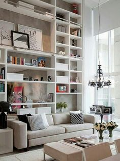 Looking for a place for those books home design decorating before and after room design house design interior Home Living Room, Living Room Designs, Living Spaces, Apartment Living, York Apartment, Living Area, Apartment Therapy, High Ceiling Living Room, Apartment Guide