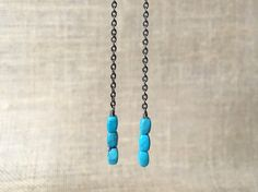turquoise and gunmetal dangle earrings by createyourhappy on Etsy