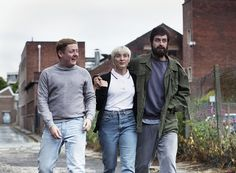 Actors Thomas Turgoose, Vicky McClure and Joseph Gilgun on the set of This Is England '90