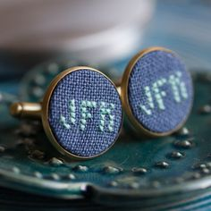 These Monogram cufflinks will become a wonderful personalized accessory for the groom. The embroidery is made with dark blue linen fabric, and you may choose any letter and color for the monogram. ***