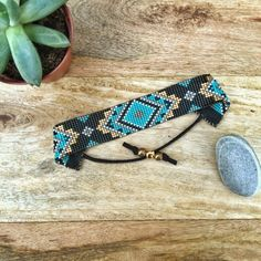 Items similar to Modern Adventurer loom beaded bracelet in black, turquoise, and gold on Etsy Loom Bracelet Patterns, Seed Bead Patterns, Bead Loom Bracelets, Beaded Jewelry Patterns, Rose Jewelry, Seed Bead Jewelry, Pony Beads, Loom Beading, Bead Weaving