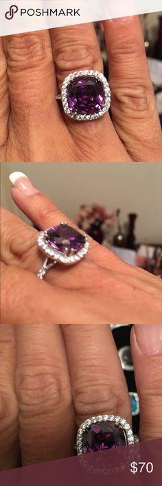 Sterling Silver Genuine Amethyst Ring Sterling Silver Genuine 8 carat Amethyst and Zircon Ring Jewelry Rings