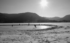 The frozen lakes in Winona, MN, are perfect for ice skating and hockey. www.visitwinona.com