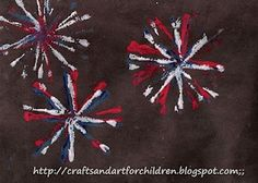 Crafts~N~Things for Children: Fireworks Painting Craft for Kids.... make a homemade stamp