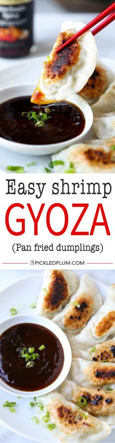 Shrimp Gyoza (pan fried dumplings) - Pillowy and tender pan-fried shrimp gyoza served with a fiery Szechuan spicy sauce. Recipe, dumplings, gyoza, appetizer, Chinese food, diy   pickledplum.com