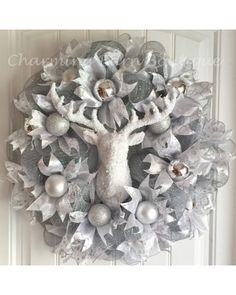 White & Silver Christmas Glam Deer Head Wreath | CraftOutlet.com Photo Contest - by Charming Barn Boutique