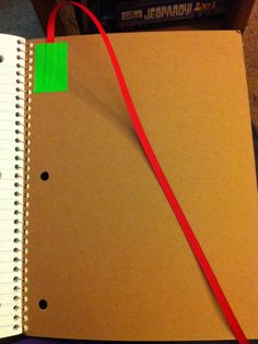 """Love the idea of using a ribbon to """"keep your place"""" in a notebook (simply duct-taped to the back cover). From Kristen's Kindergarten (blog)"""
