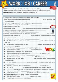 This is a gap-filling exercise to practise the use of the words ! Teaching English Grammar, English Grammar Worksheets, Vocabulary Worksheets, English Writing, English Vocabulary, English Tips, English Lessons, Learn English, Esl Worksheets For Beginners