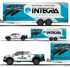 Truck trailer combination wrap for Integra Van Signage, Vehicle Signage, Vehicle Branding, Custom Trailers, Van Wrap, Truck Decals, Hot Rods, Car Trailer, Truck Design