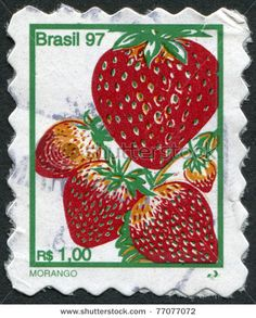 BRAZIL - CIRCA Postage stamps printed in Brazil, depicted strawberries, circa 1997