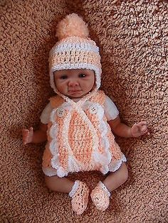 Handmade Crochet Outfit Clothes For 10 inch OOAK Baby or Preemie Reborn Doll American Doll Clothes, Baby Doll Clothes, Crochet Doll Clothes, Crochet Dolls, Crochet Stitches Patterns, Doll Patterns, Clothing Patterns, Teddy Bear Toys, Teddy Bears