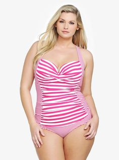 Stripes never looked so sexy! (Bonus: The design of this suit is based on the frame of our amazzzing Demi Bra...featuring underwire cups with removable push-up pads + convertible straps that you can rock straight, halter or crossback. We're obvi obsessed!) #TorridSpring