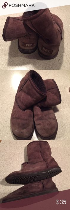 UGG Women's Classic Short Boot WELL LOVED UGG Women's Classic Short Boot in Chocolate. Broken in and a little worn in the toes but no holes and very comfortable still. They were waterproofed but still have some road salt stains (from the lovely winter weather of the Northeast) on the sides and the toes. Could probably be cleaned with UGG cleaner. UGG Shoes