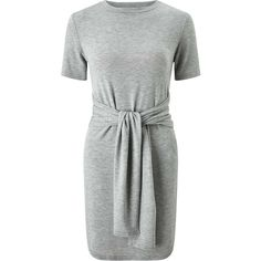 Miss Selfridge Tie Front Tea Dress (588.280 IDR) ❤ liked on Polyvore featuring dresses, light grey, short sleeve jersey dress, jersey dresses, tie dress, tea dress and tea party dresses