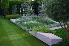 contemporary lawn and garden space