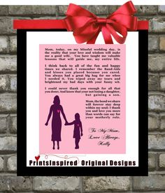 Personalized Wedding Gift for Parents Mother Of The Bride.  Any Color. Affordable Thank You Gift For Mom. $15.00