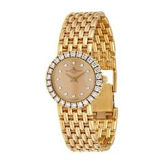 Pre-owned Baume and Mercier Gold and diamond Ladies Watch ($2,500) ❤ liked on Polyvore featuring jewelry, watches, i love jewelry, diamond fine jewelry, 18k gold jewelry, diamond jewelry and pre owned watches