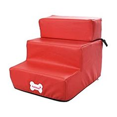 """awesome Jiyaru 3 Steps Pet Stairs for Dog Cat Anti-Slip Ladder Removable Cover Ramp Washable Red ❤ Size: 29.5 x 35.5 x 19 cm / 11.61"""" x 13.97"""" x 7.48"""", please check our size picture for details. Weight Capacity: 5kg / 11.02lbs ❤ Material: Made of faux leather material, soft and comfortable surface, the interior is a soft sponge to prevent pet from being injured ❤ Features: Anti-slip... Small Dog House, Small Dogs, Pet Dogs, Dogs And Puppies, Pets, Dog Stairs For Bed, Dog Ramp, Dog Steps, Bed Cushions"""