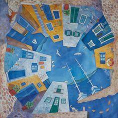 Платок с ручной росписью (батик) - Сиеста. Синий, белый, желтый.