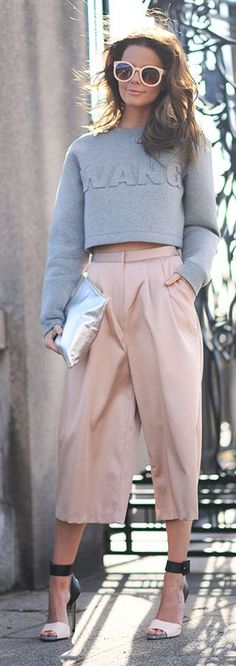 Pink Culottes Inspiration Outfit by Stylista