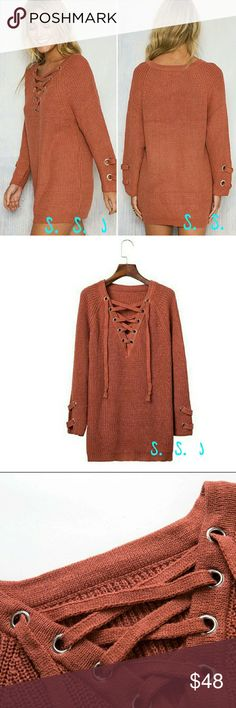 COMING SOON!! Women sexy  lace-up sleeve V-neck pullover.  Color is brick red!  Super cute and comfy!  Perfect for this season!  material is acrylic/cotton. boutique Sweaters V-Necks