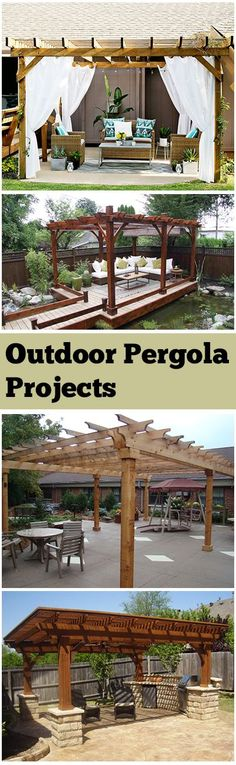 I like the bottom pergola with the built in grill! DIY Outdoor Pergola Ideas, designs, Projects and tutorials. Outdoor Pergola, Outdoor Rooms, Backyard Patio, Outdoor Living, Outdoor Decor, Diy Pergola, Modern Pergola, Pergola Carport, Outdoor Parties
