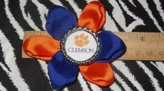 Sporty Bottlecap Flower NCAA Clemson Tigers Hair Bow ~ Free Shipping Price: $4.00