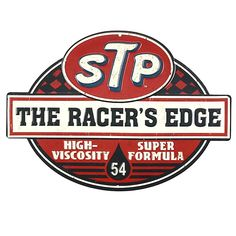 If timeless nostalgic decor revs you up, this STP The Racer's Edge Embossed Die Cut Tin Sign is sure to get your motor running! This classic motor oil advertisement sign is the perfect accent for a ma Motos Vintage, Vintage Motorcycles, Old Garage, Garage Art, Racing Stickers, Cool Stickers, Advertising Signs, Vintage Advertisements, Vintage Labels
