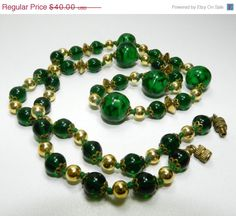 15 OFF SALE Superb Art Deco Green Art Glass Beaded by JeweledLuv, $34.00