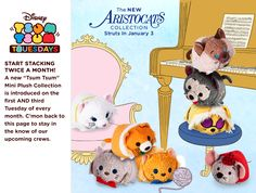 The Aristocats Tsum Tsum Collection - Duchess, Thomas O'Malley, Berlioz, Toulouse, Shun Gon, Scat Cat, Hit Cat, and Roquefort