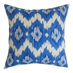 The Pillow Collection - Ulrike Ikat Pillow Blue - Bright and bold, this striking decor pillow is a must-have for your room. The ikat pattern which adorns this square pillow comes in shades of blue, teal and white. You can use this accent pillow anywhere inside your home from your living room to your bedroom. This throw pillow can easily be paired with other color schemes and patterns. Made of 100% plush and soft cotton fabric. Hidden zipper closure for easy cover removal.  Knife edge finish…
