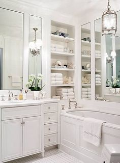Gorgeous Bath, love the organized shelves ~ From: South Shore Decorating Blog: More Simply Gorgeous Rooms