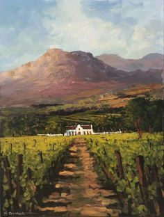 Oil Painting - Vineyards with Farm House in the Mountains by Mauro Chiarla