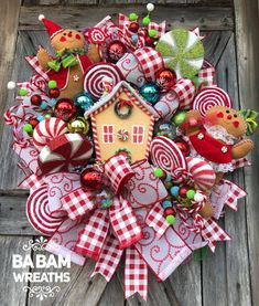 Awesome Christmas Wreath Decoration Ideas For Your Home - When most people get around to Christmas decorating, they usually start with the Christmas tree and lights. And it's true that traditional holiday dec. Gingerbread Christmas Decor, Candy Land Christmas, What Is Christmas, Whimsical Christmas, Rustic Christmas, Christmas Holidays, Christmas Decorations, Christmas Ornaments, Handmade Christmas