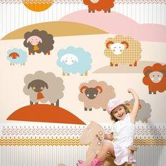 Sheep / non-woven mural / lavmi Luxury Wallpaper, Designer Wallpaper, Beautiful Wallpaper, Inspiration For Kids, Kids Decor, Modern Wall, Kids Playing, Baby Room, Sheep