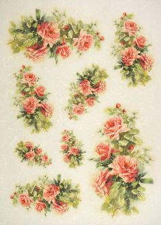 Rice Paper for Decoupage Decopatch Scrapbook Craft Sheet Vintage Red Roses