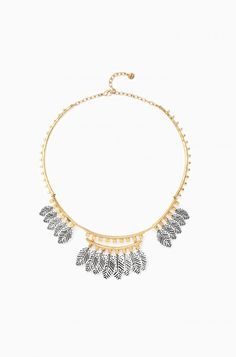 Stella & Dot Asher Necklace ($129) - Gold Collar Necklace with Silver Hanging Feather