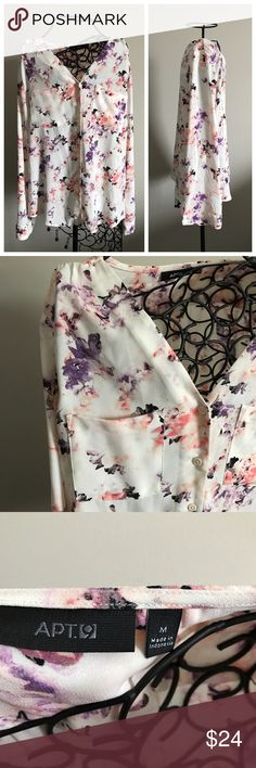 """Pastel Floral Blouse Only worn once. Good condition. Beautiful colors. Off white background. Button up front. Two chest pockets. Long sleeves- can roll up and button into 3/4 sleeves. Measurements lying flat: armpit to armpit 21"""". Length of front 25"""" and length of back 27.5"""". Size medium.  ❌ No trades or off Poshmark transactions.   👌🏻Quick shipping.   💁🏻Offers welcome through """"Make an Offer"""" feature.   👗👠 Bundle discount.   ❔ Feel free to ask any questions. Apt. 9 Tops Blouses"""
