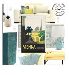 """""""Artsy Travel Poster, #2."""" by s-elle ❤ liked on Polyvore featuring interior, interiors, interior design, home, home decor, interior decorating, Surya, Kristin Drohan Collection, Cyan Design and Bleu Nature"""