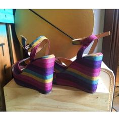 Selling this Rainbow wedges!!! in my Poshmark closet! My username is: kali_perry. #shopmycloset #poshmark #fashion #shopping #style #forsale #Very volatile #Shoes