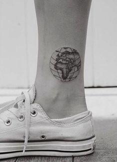World map by hannah tiki tattoo, tattoo life, rn tattoo, flash tattoo, Cute Ankle Tattoos, Girly Tattoos, Trendy Tattoos, Cute Tattoos, New Tattoos, Small Tattoos, Tattoos For Women, Tattoos For Guys, Tatoos