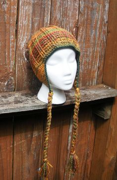 Unisex ribbed crochet earflap beanie hat in Autumn by luvbuzz