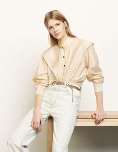 Short shirt with mandarin collar Beige - Tops & Shirts Col Mandarin, Mandarin Collar, Short Shirts, Cut Shirts, Boutique, Sandro Paris, Crop Shirt, Shirt Dress, Models