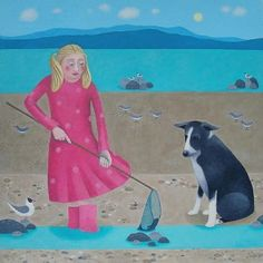 Fishy Goins On by Ailsa Black. Artist's blank greeting card of a dog and a girl with a fishing net on the beach.