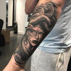 Greek Tattoos are classic in the world of tattooing. Hercules Tattoo, Hades Tattoo, Greek Mythology Gods, Greek Mythology Tattoos, Greek Gods, Greek Goddess Tattoo, Greek God Tattoo, Medusa Tattoo Design, Moth Tattoo
