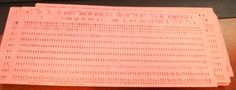 """IBM type computer punch cards. I remember our water bill looking like this and trying to """"read"""" it."""