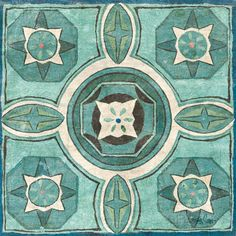 Tuscan Tile Blue Green IV Poster von Kristy Goggio bei AllPosters.de